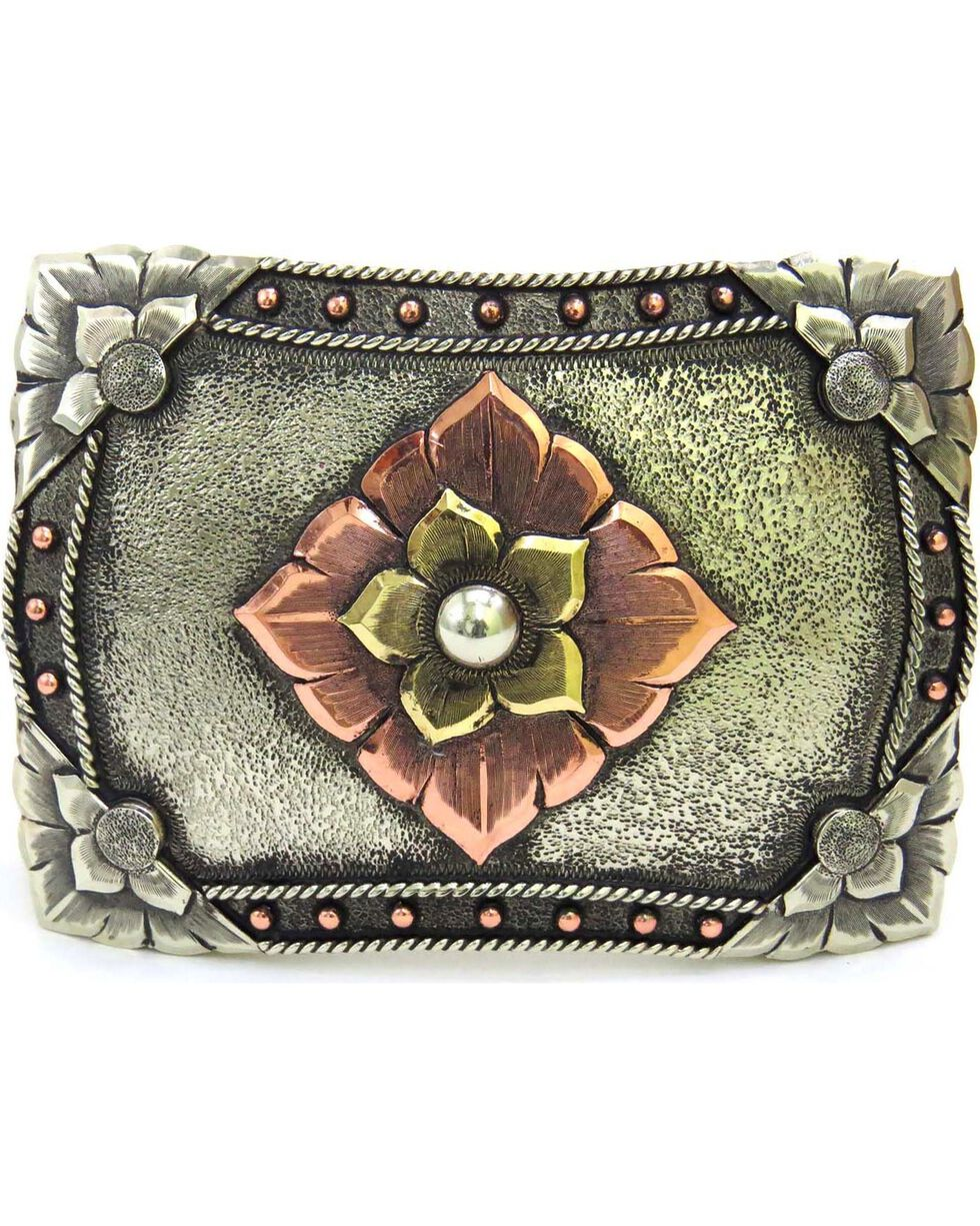 Augus Silversmiths Sterling Silver Copper Flower Belt Buckle, Multi, hi-res