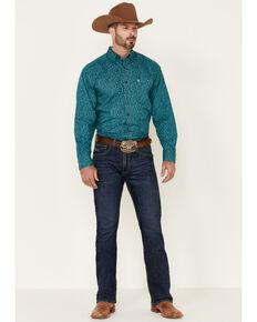 Ariat Men's Wrinkle Free Blue Eamon Paisley Print Long Sleeve Western Shirt , Blue, hi-res