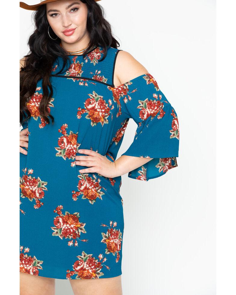 Flying Tomato Womens Floral Cold Shoulder Dress Plus Size Sheplers