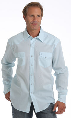 Garth Brooks Sevens by Cinch Men's Light Blue Tonal Print Western Shirt, Light Blue, hi-res
