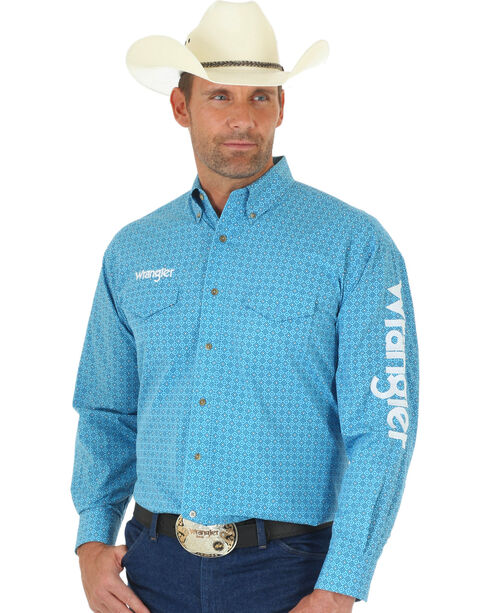 Wrangler Men's Blue Print Wrangler Logo Shirt, Blue, hi-res