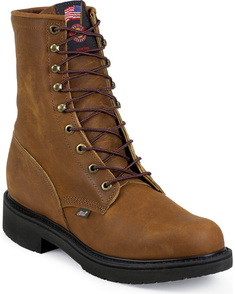 """Justin Men's Cargo 8"""" Electrical Hazard Lace-Up Work Boots - Soft Toe, Bark, hi-res"""