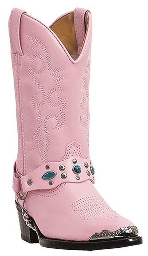 Laredo Girls' Little Concho Pink Harness Cowgirl Boots, Pink, hi-res
