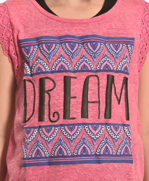 Derek Heart Girls' Pink Crochet Lace Flutter Sleeve Hi Lo Top with Puff Print, Pink, hi-res
