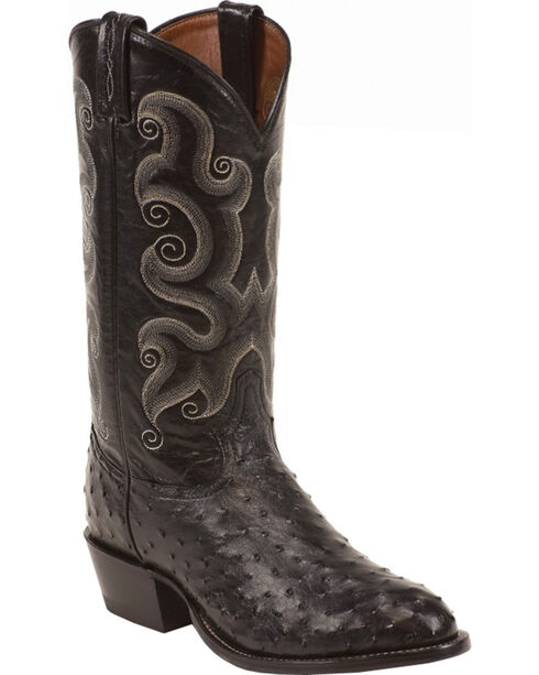 Tony Lama Full Quill Ostrich Cowboy Boots - Round Toe, Black, hi-res