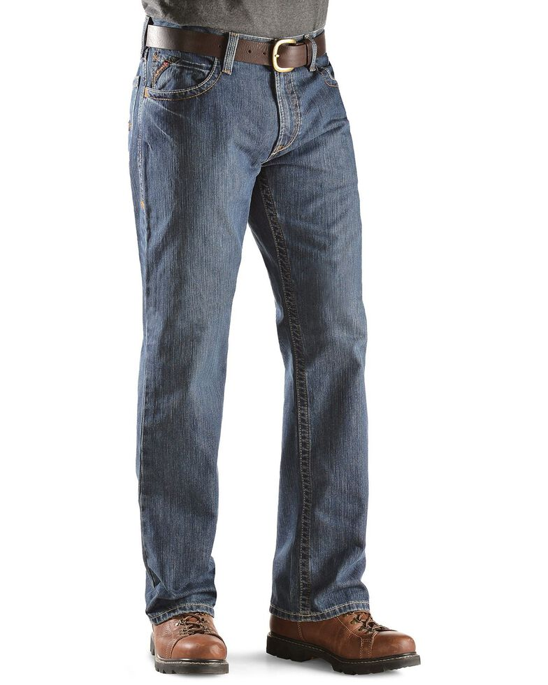 Ariat Men's Flint Flame Resistant Bootcut Work Jeans, Denim, hi-res