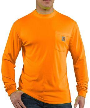 Carhartt Force Color-Enhanced Long Sleeve T-Shirt - Big & Tall, Orange, hi-res