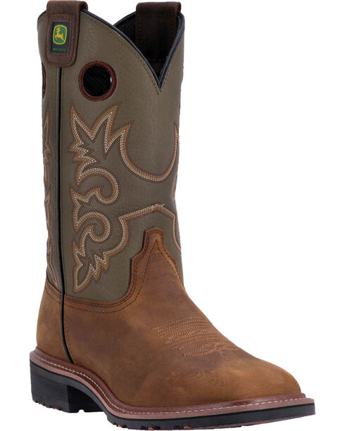 """John Deere Men's 11"""" Leather Pull-on Western Work Boots - Square Toe , Brown, hi-res"""