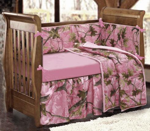 HiEnd Accents 4-Piece Pink Camo Crib Set, Pink, hi-res