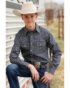 Cinch Boys' Grey Floral Geo Print Long Sleeve Western Shirt , Grey, hi-res
