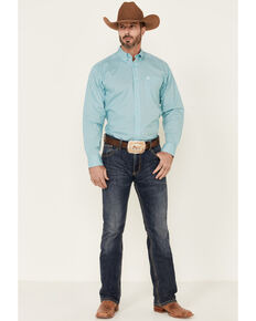 Ariat Men's Fenn Stretch Geo Print Long Sleeve Button-Down Western Shirt , Turquoise, hi-res