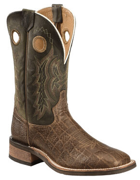 Tony Lama Tan Elephant Grain Americana Cowboy Boots - Square Toe , Tan, hi-res