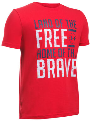 Under Armour Freedom Boy's Red Land of the Free Tactical Shirt, Red, hi-res