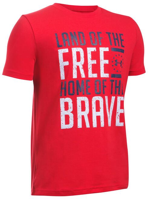 Under Armour Freedom Boys' Red Land of the Free Tactical Shirt, Red, hi-res