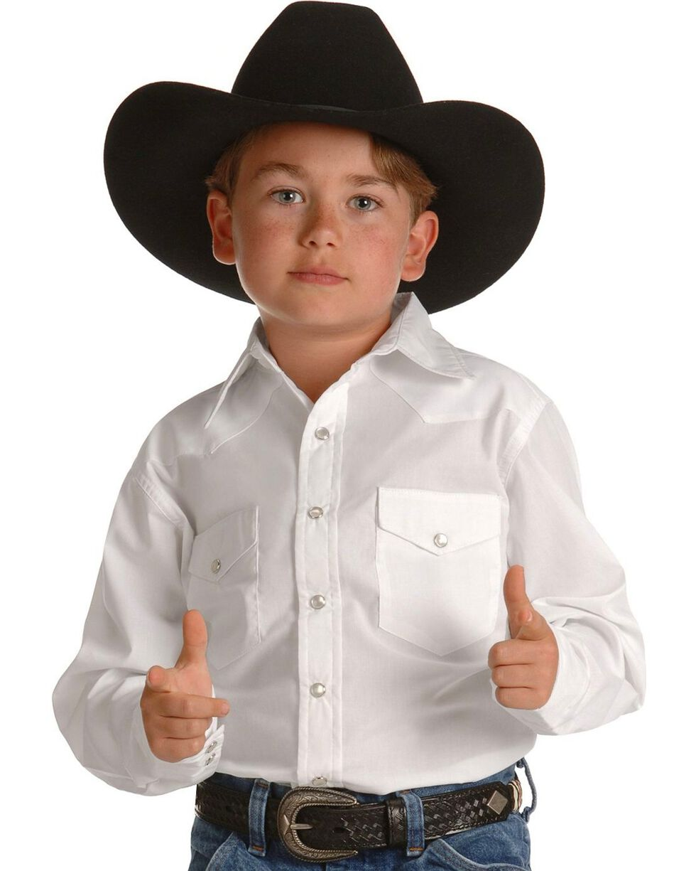 Wrangler Boys' Western Dress Shirt - 2-20, White, hi-res