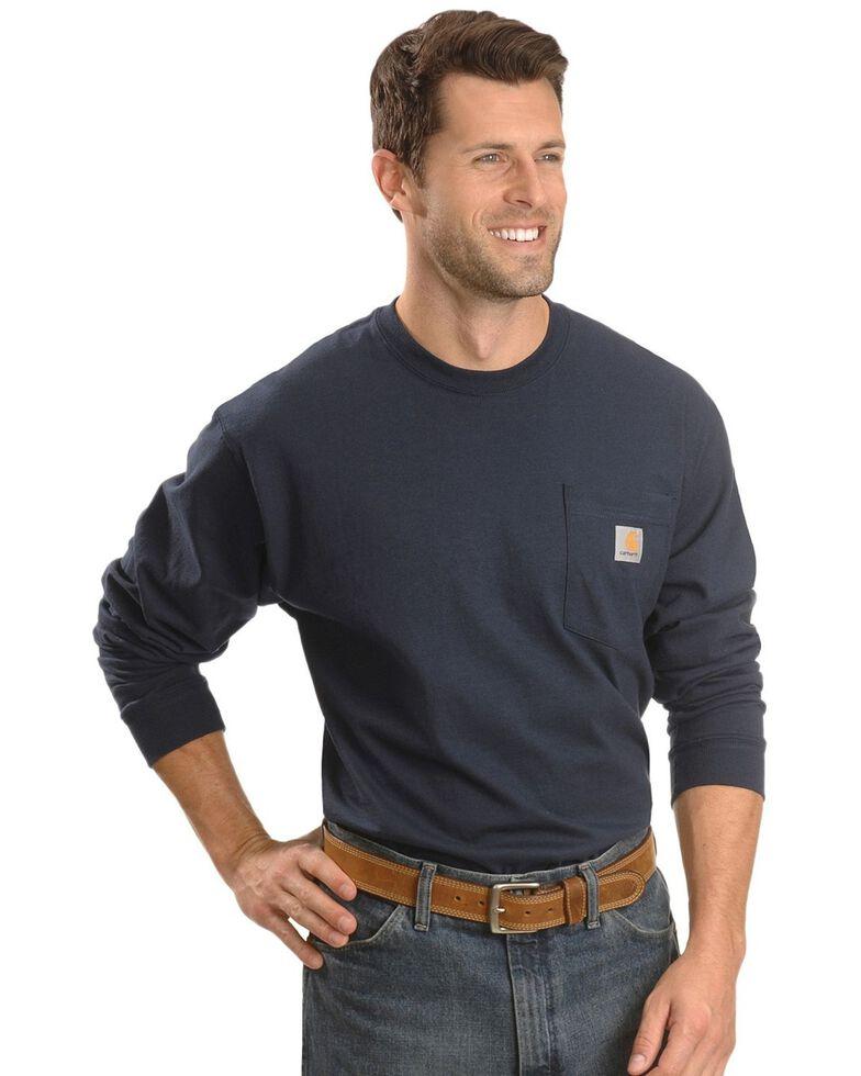 Carhartt Men's Pocket Long Sleeve Work Shirt - Tall, Navy, hi-res
