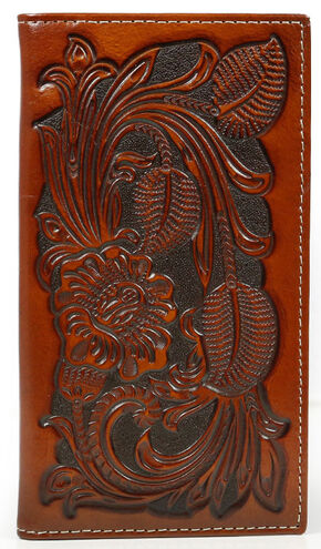 Cody James Men's Tooled Floral Rodeo Checkbook Wallet, Brown, hi-res