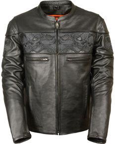 Milwaukee Leather Men's Reflective Skull Crossover Scooter Jacket, Black, hi-res