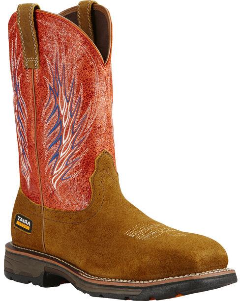 Ariat Fire Workhog Mesteno II Cowboy Work Boots - Composite Toe , Brown, hi-res