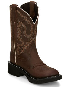 Justin Women's Inji Western Boots - Round Toe, Distressed Brown, hi-res