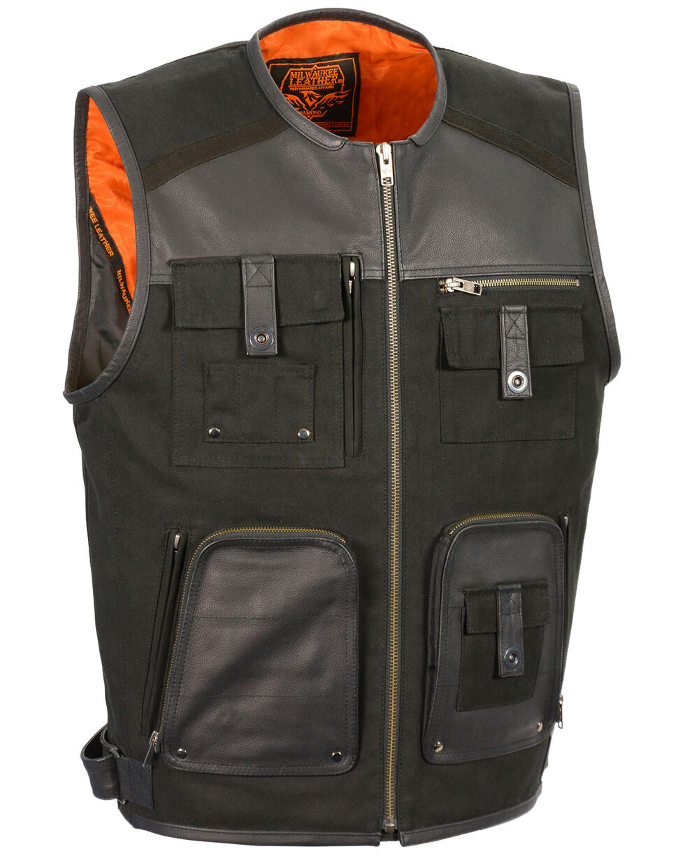 Milwaukee Leather Men's Leather & Canvas Zipper Front Super Utility Multi Pocket Vest - 5X, Black, hi-res
