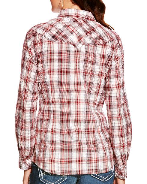 Ariat Women's Leona Top-stitch Plaid Long Sleeve Snap Shirt, Multi, hi-res