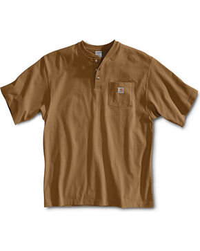 Carhartt Short Sleeve Henley Work Shirt - Big & Tall, Brown, hi-res