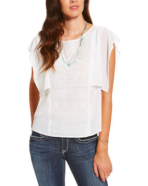 Ariat Women's White Flamenco Top , White, hi-res