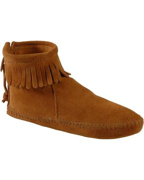 Minnetonka Soft Sole Back-Zip Moccasins, Brown, hi-res