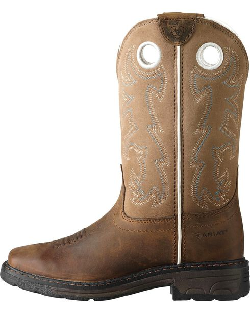 Ariat Child Distressed Workhog Boots - Square Toe , Brown, hi-res
