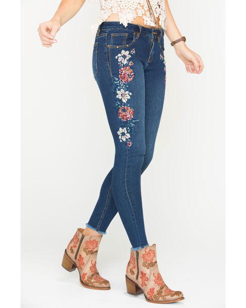 Miss Me Women's Indigo Floral Embroidered Jeans - Skinny , Indigo, hi-res
