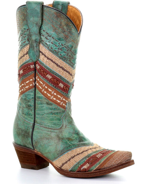 Corral Women's Turquoise/Brown Chevron Embroidered Cowgirl Boots - Snip Toe, Chocolate/turquoise, hi-res