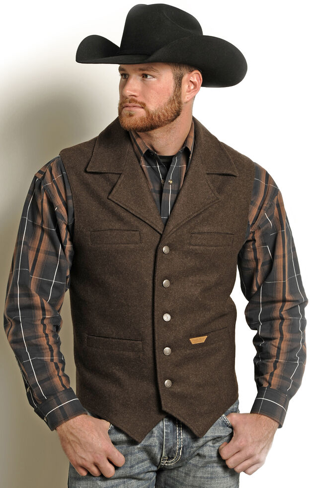 Powder River Outfitters Men's Brown Wool Montana Vest , Brown, hi-res