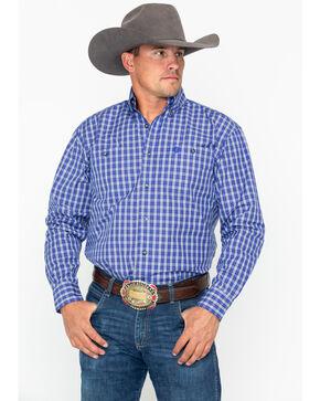 George Strait by Wrangler Men's Blue & White Plaid Long Sleeve Western Shirt, Blue/white, hi-res