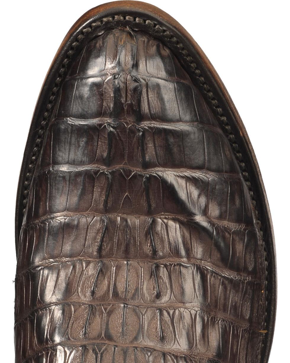 Lucchese Men's Handmade Dark Brown Franklin Hornback Caiman Tail Boots - Round Toe , Dark Brown, hi-res