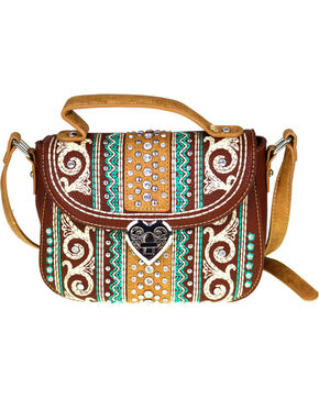 Montana West Women's Bling Bling Collection Crossbody Bag, Brown, hi-res