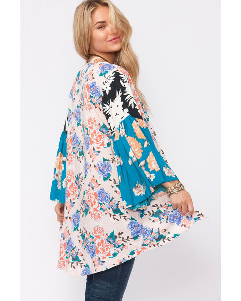 Shyanne Women's Mixed Floral Print Kimono, Multi, hi-res