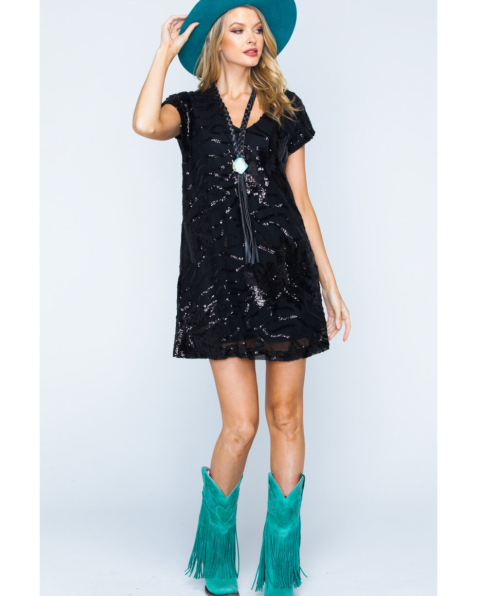 Illa Illa Women's Short Sleeve Sequin Dress, Black, hi-res