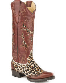 Stetson Women's Kitty Hair On Cheetah Western Boots - Snip Toe, Burgundy, hi-res