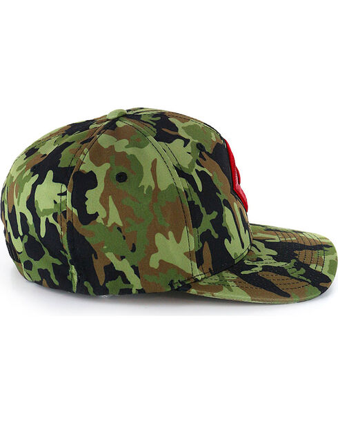 Rock & Roll Cowboy Men's Camo FlexFit Ball Cap, Camouflage, hi-res