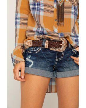 Shyanne Women's Brown Leather Embellished Belt, Bronze, hi-res