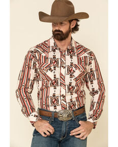 Rock & Roll Denim Men's Brown Aztec Striped Long Sleeve Western Shirt , Brown, hi-res