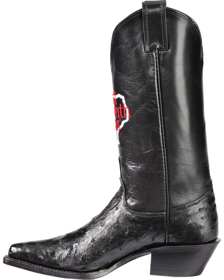 """Justin """"Don't Mess with Texas"""" Full Quill Ostrich Cowgirl Boots - Pointed Toe, Black, hi-res"""