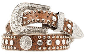Blazin Roxx Floral Embossed Concho Studded Belt, Brown, hi-res