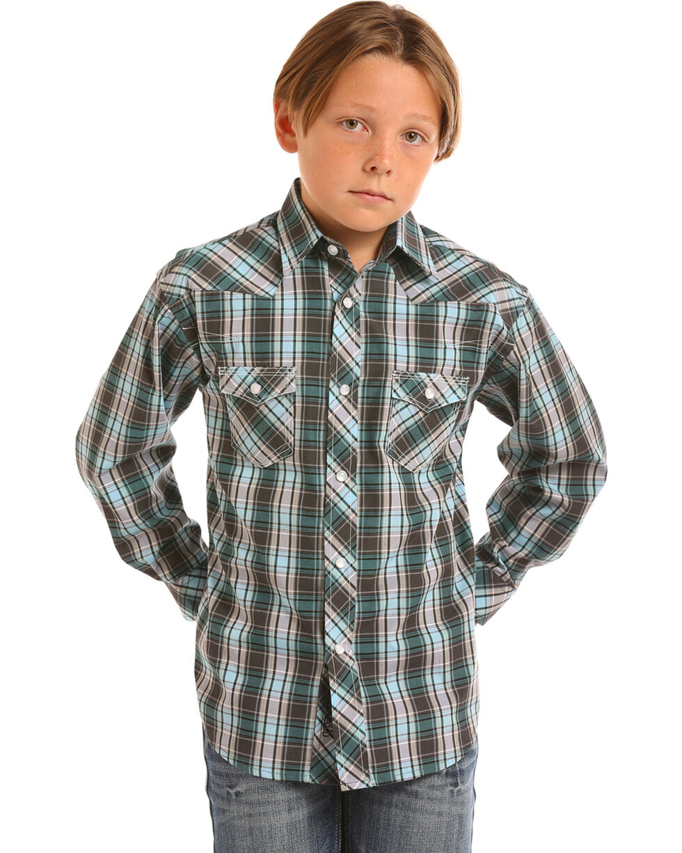 Rock & Roll Cowboy Boys' Turquoise Yarndye Plaid Snap Shirt , Turquoise, hi-res