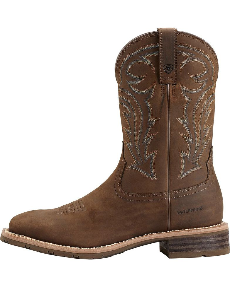 Ariat Hybrid Rancher Waterproof Pull-On Work Boots - Square Toe, Brown, hi-res