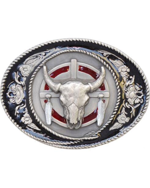 Western Express Men's Silver Buffalo Skull Belt Buckle , Silver, hi-res