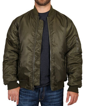 American Worker Men's Nylon Bomber Jacket , Olive, hi-res