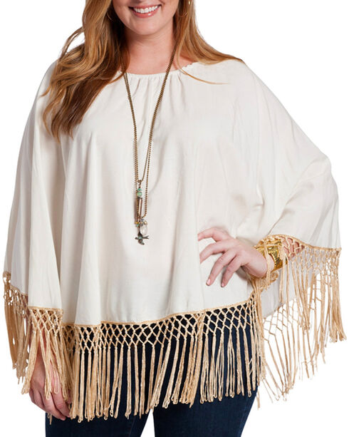 Rancho Estancia Women's Cordova Long Sleeve Poncho Blouse, Cream, hi-res