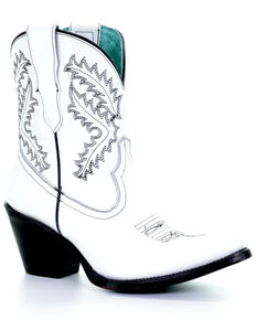 Corral Women's White Embroidery Western Booties - Snip Toe, White, hi-res